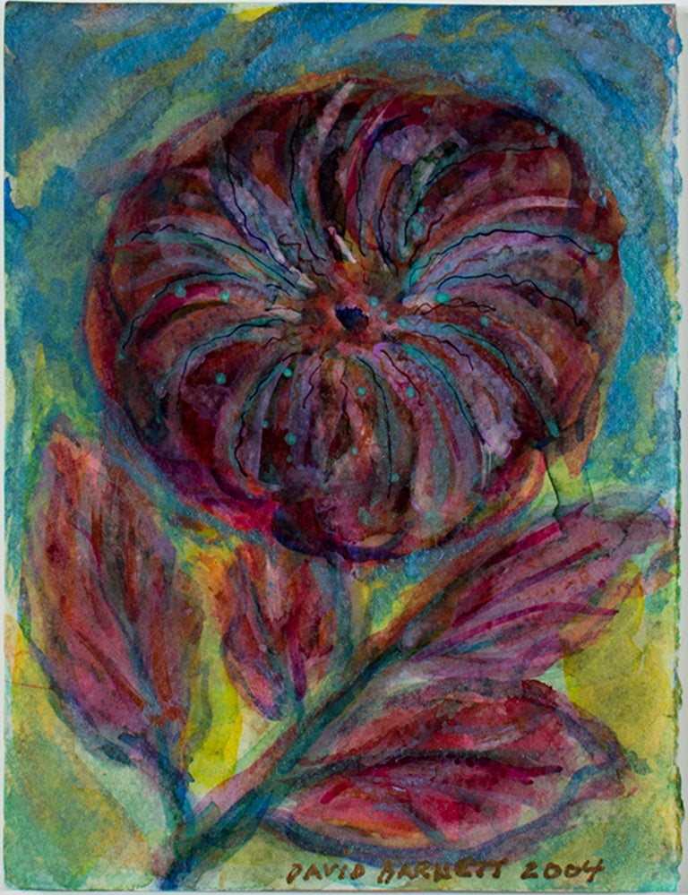 """Iridescent Fireworks Flower"" is an original mixed media piece by David Barnett that incorporates iridescent acrylic, ink, and watercolor. It is signed in the lower center and framed with museum glass. A large, deep violet-red flower takes up the"