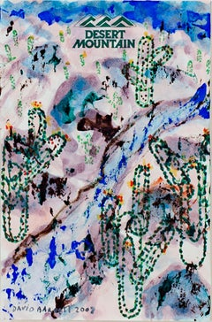 """Desert Mountain Souvenir Paper Clip Cactus,"" original painting by David Barnett"