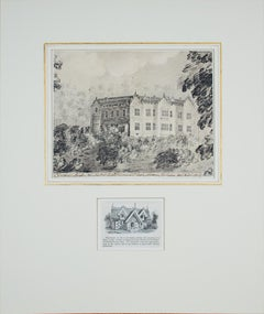 """View of Chequers Court,"" pencil and ink by Fiennes Trotman from Rothschild"