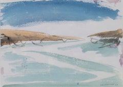 """Sand, Sea & Sky,"" Original Watercolor Seascape signed by David Barnett"