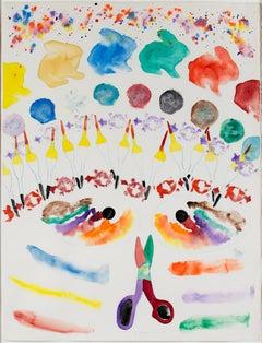 """Morph Dog Series: Artist's Mask with Fireworks,"" Watercolor by David Barnett"