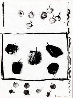"""Cherries, Persimmons, & Pears,"" Original Ink Drawing signed by David Barnett"