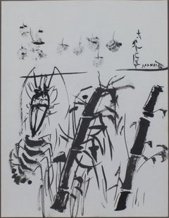 """Bamboo, Lobster, & Cherries,"" Original Ink Drawing signed by David Barnett"
