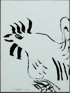"""""""Chicken I,"""" original framed pen and ink drawning by David Barnett"""