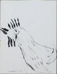 """""""Chicken II,"""" original framed pen and ink drawing by David Barnett"""