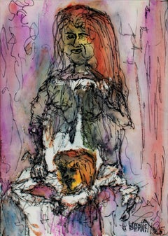 """Madonna and Child,"" original framed watercolor and ink drawing by David Barnett"