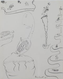 """Turtle,"" original framed surreal pen and ink drawing by David Barnett"