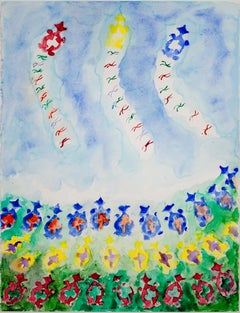 """Morph Dog Series: Kite Fly-in III,"" original framed watercolor by David Barnett"