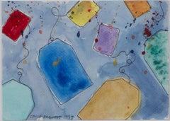 """Boston Tea Part Invites II,"" original watercolor/ink painting by David Barnett"