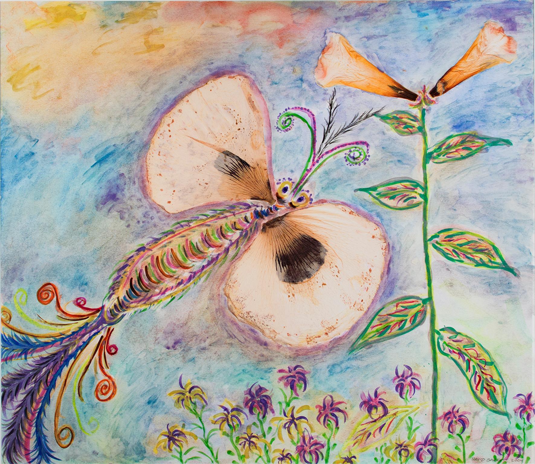 """Poppy Winged Hybrid Butterfly and Giant Gold Lily,"" Mixed Media, David Barnett"