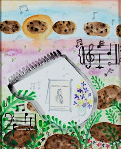 """Homage to Chopin - Nocturnes,"" Original Watercolor & Collage by David Barnett"