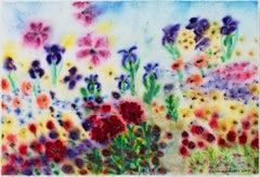 """Sunlit Iridescent Summer Garden Rain,"" original painting by David Barnett"