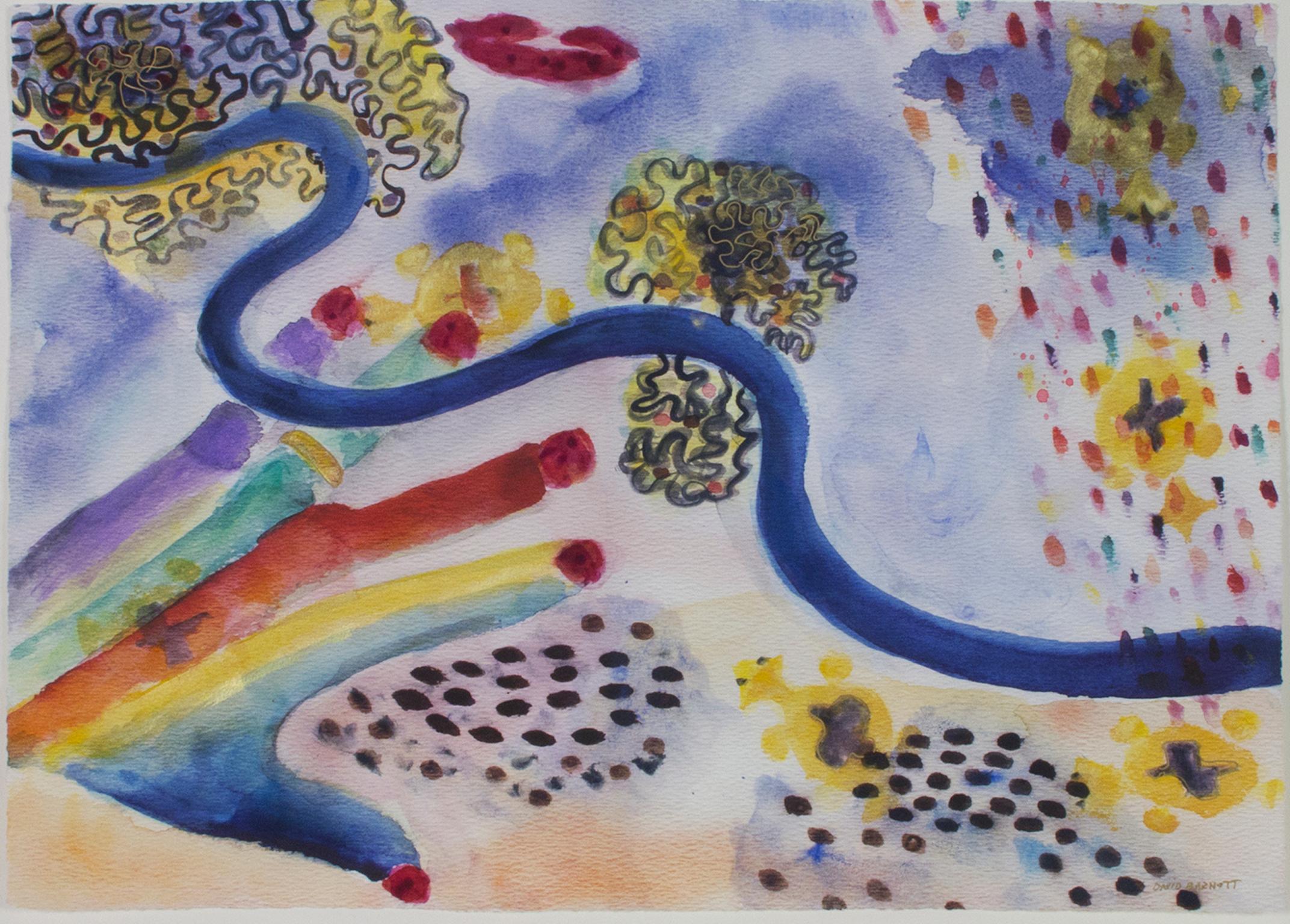 """Black Beans & Brains II,"" Original Colorful Surrealist signed by David Barnett"