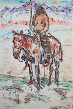 """Homage to Ned Jacob Blackfoot Indian on Painted Palomino, Montana,"" D. Barnett"