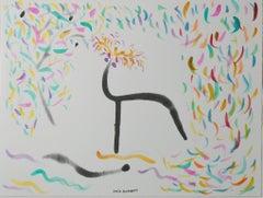 """Buddha Board Water Series Dear with Fall Confetti,"" artwork by David Barnett"