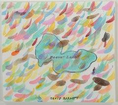 """Leaves are Falling Over Beaver Lake,"" original mixed media by David Barnett"