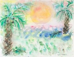 """Florida Gulf Coast-Sanibel Island Sunset,"" Original Watercolor by David Barnett"