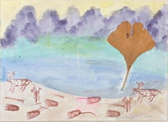 """Oasis with Reindeer Shaman & Bear Tracks,"" original painting by David Barnett"