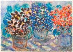 """Triple Studio Golden African Violets,"" mixed media watercolor by David Barnett"