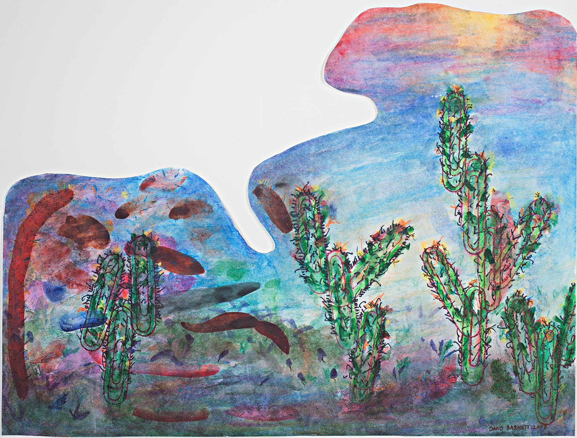 """Southwest Sunset Paper Clip Cactus Palette,"" Mixed Media by David Barnett"