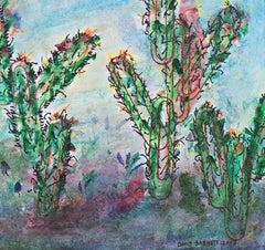 """Southwest Sunset Paper Clip Cactus Palette,"" mixed media work by David Barnett"