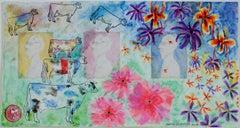 """Homage to Schomer Lichtner and Ellsworth Kelly,"" watercolor by David Barnett"
