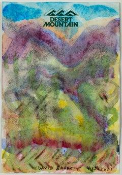 """Souvenir of Desert Mountain,"" Original Watercolor signed by David Barnett"