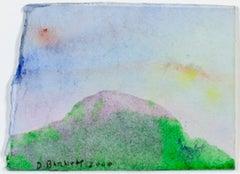"""Purple Mountain,"" original miniature watercolor painting by David Barnett"