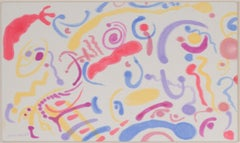 """Funny Flip Face Amusement Park,"" Original Aquacryl on silk by David Barnett"