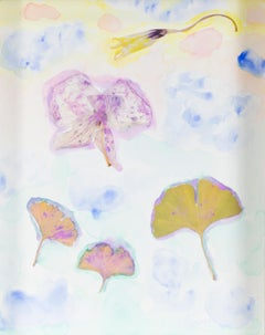 """Floating Ginko Forest with Shooting Start Orchid,"" mixed media by David Barnett"
