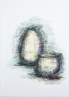 """Two Vases,"" Original Ink & Oil Pencil Drawing signed by David Barnett"