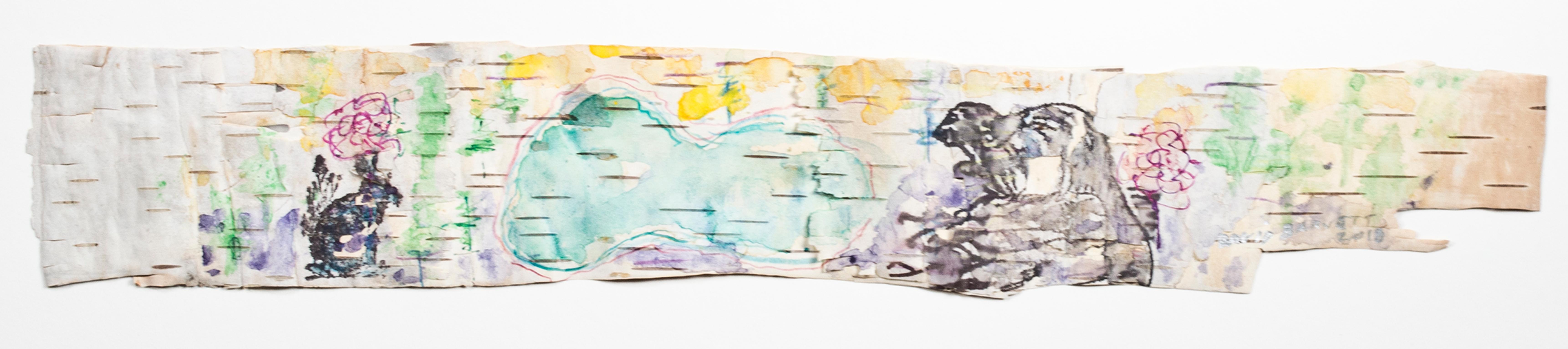 """Up North Birch Bark Series: Beaver Lake,"" Watercolor signed by David Barnett"