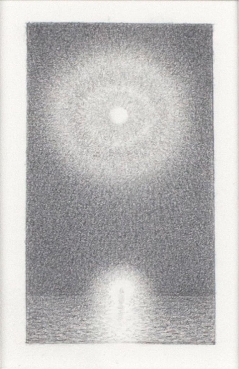 """""""Christ #5"""" is an original graphite drawing on paper by Bill Teeple, signed in the lower right corner of the mat. This small image of a moon glowing through the clouds over the water is surrounded by a large white mat, isolating this intimate work"""