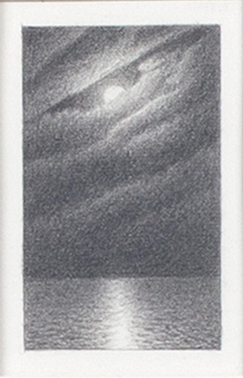 """""""Full Moon & Clouds #4,"""" Original Miniature Graphite signed by Bill Teeple"""