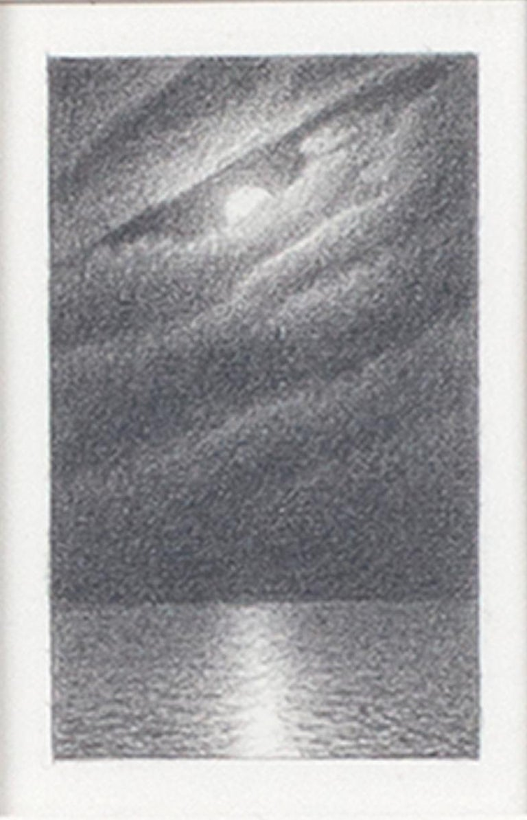 """""""Full Moon & Clouds #4"""" is an original graphite drawing on paper by Bill Teeple, signed in the lower right corner of the mat. This small image of a the moon over the water is surrounded by a large white mat, isolating this intimate work so that it"""