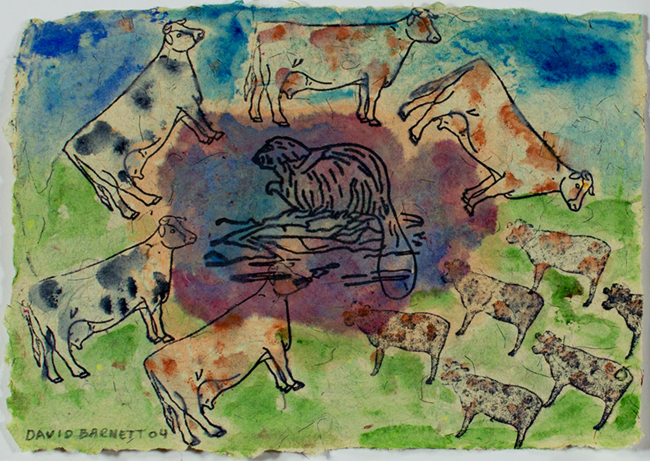 """""""Beaver Lake Beaver with Surround Sound Cows"""" signed by David and Sarah Barnett"""