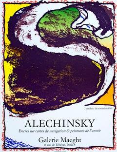 """""""Encres sur cartes de navigation & peintures de l'annee,"""" Litho by Alechinsky"""