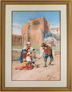 Three Children Playing in a Courtyard