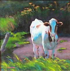 """Blue Moo,"" Oil on Board Landscape signed by Cathryn Ruvalcaba"