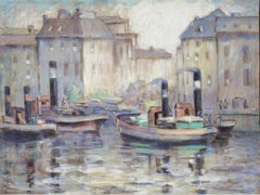 """""""Boats in Berlin Harbor,"""" Pastel on Cheesecloth by Francesco Spicuzza"""