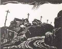 """Road to Cripple Creek, Colo.,"" Wood Engraving by Gerhard H. Bakker"