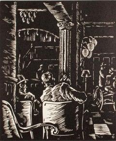 """""""Hotel Lobby,"""" Linoleum Cut by Alexander Tillotson"""