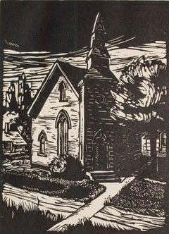"""""""Country Church,"""" Town Landscape Linoleum Cut by Elsa E. Ulbricht"""