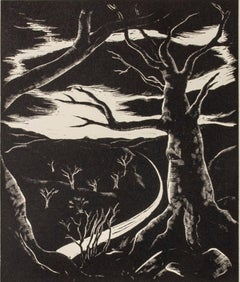 """The Long White Road,"" Landscape Wood Engraving by Lowell Merritt Lee"