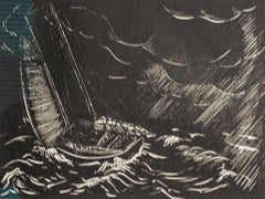 """Squall,"" Sailboat Maritime Scene Wood Engraving by Lowell Merritt Lee"