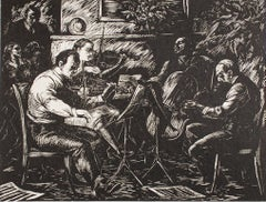 """Chamber Music"" Interior Scene of Musicians Wood Engraving by Robert Von Neumann"
