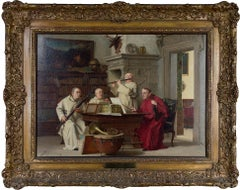 """The Concert,"" Oil on Canvas Portrait of Monks Playing Instruments by Cederstrom"