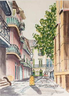 """New Orleans Streetscape,"" Watercolor Cityscape signed by William Collins"