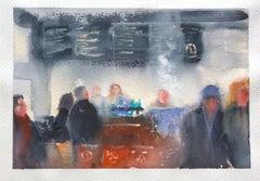 """Cold Morning at Stone Creek,"" Watercolor Cafe Interior by Julia Taylor"