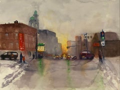"""""""Farewell Ave in Winter (Milwaukee, WI),"""" Watercolor on Paper by Julia Taylor"""